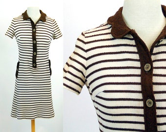 1960s dress, Leslie Fay dress, knit dress, mini dress, striped dress, brown white, Size S