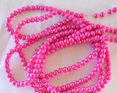 Hot Pink Glass Pearls, Full Strand, 6 mm