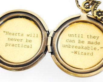 Wizard of Oz Quote Women's Locket - L. Frank Baum - The Wizard of Oz - Hearts will never be practical until they can be made unbreakable