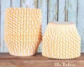Yellow Stripe Cupcake Liners, Yellow Pinstripe Cupcake Liners, Circus Stripe Cupcake Liners, Yellow Wedding Cupcake Liners (100 count)*