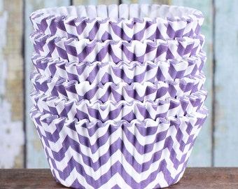 Purple Chevron Cupcake Liners, Purple Cupcake Wrappers, Purple Cupcake Cases, Stay Bright Greaseproof Cupcake Liners, Purple Baking Cup (50)