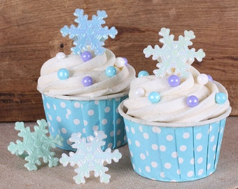 Snowflake Cupcake Rings, Frozen Winter Party Cupcake Toppers, Snowflake Kids Party Favor Rings, Snowflake Cupcake Toppers (12 ct)