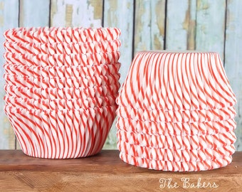 Red Striped Cupcake Liners, Red Striped Cupcake Wrappers, Red Cupcake Liners, Christmas Cupcake Liners, Red Baking Cups, Muffin Cups (50)