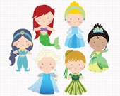 Disney Inspired Princesses v2 Digital CLIP ARTS personal and commercial use for invitations, cupcake toppers, birthday cards, party supplies