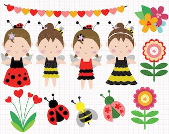 80% Off SALE Ladybug and Bumblebee Digital CLIP ARTS personal and commercial use for invitations, cupcake toppers, birthday cards