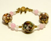 Mosaic Magnetite Pink & White Beaded Bracelet, Fashion Bracelet, Women's Bracelet, Glass Bead Bracelet, Pink Bead Bracelet, Crystal Bracelet