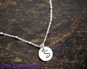 Initial Charm Necklace, Tiny Initial Charm Necklace, Monogram Jewelry, Initial Jewelry