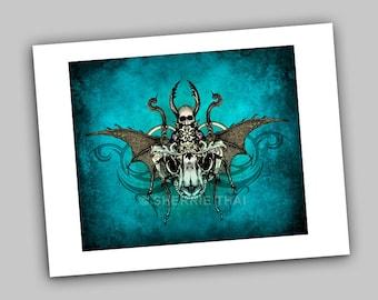 Deathly Scarab Skull Insect, Vintage Dark Gothic Fantasy Horror Style Illustration, Art Print, Sale