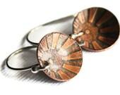 Copper Sunrise Earrings, Disc earrings, Argentium Silver Earwires, Handmade