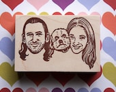 Portrait Stamp/ Custom family portrait stamp/ Christmas card/ Christmas gift/ Anniversary gift/ Any texts on rubber stamp for FREE