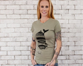 "Size Small READY to SHIP Women's T Shirt, Bird Flying From Cage ""Freedom""  Ladies Cotton Crewneck Tshirt, Light  Olive, Birdcage"