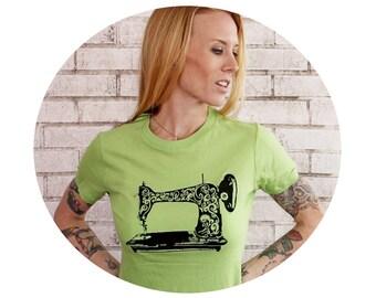 Screenprinted Sewing Machine Tshirt, Apple Green Cotton Crewneck Ladies Short Sleeved Graphic Tee Shirt Women's Clothing Tshirt Hand Printed