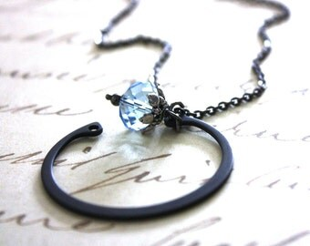 Modern Baby Blue Glass and Metal Necklace : Rustic Modern Open Circle Blue and Black Sleek Mod Jewelry / Beauty and the Beast in Blue