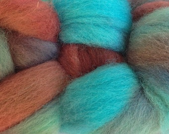 Wool Roving Hand Dyed in Frost Bite