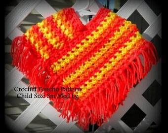Girls Poncho Pattern - Crochet - Child Size 4 to 14 - PDF 04102519