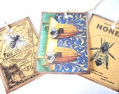 Honey Bee Tags - Set Of 8 - Bee Hives - Honey Tags - Vintage Tags - Garden Tags - Thank Yous - Insect Tags - Merchandise Tags