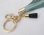Leather Tassel Keychain,Valentines Gift,Mint Blue twin Tassel Keyring Gold,pastel Mint Bag Accessory Two tassels real Leather, Tassel Charm