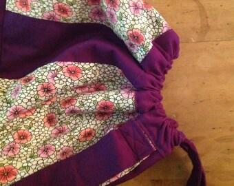 Purple and Floral Drawstring Circular Backpack