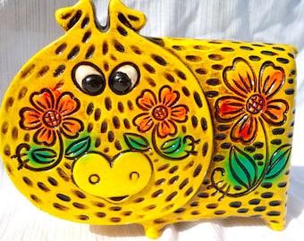 1960s Retro Yellow Piggy Bank