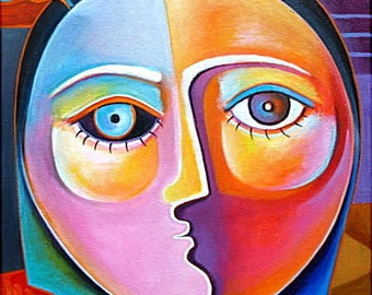 Cubist Abstract  Acrylic Original painting on canvas Marlina Vera Fine Art Gallery artwork sale WOMAN FACE
