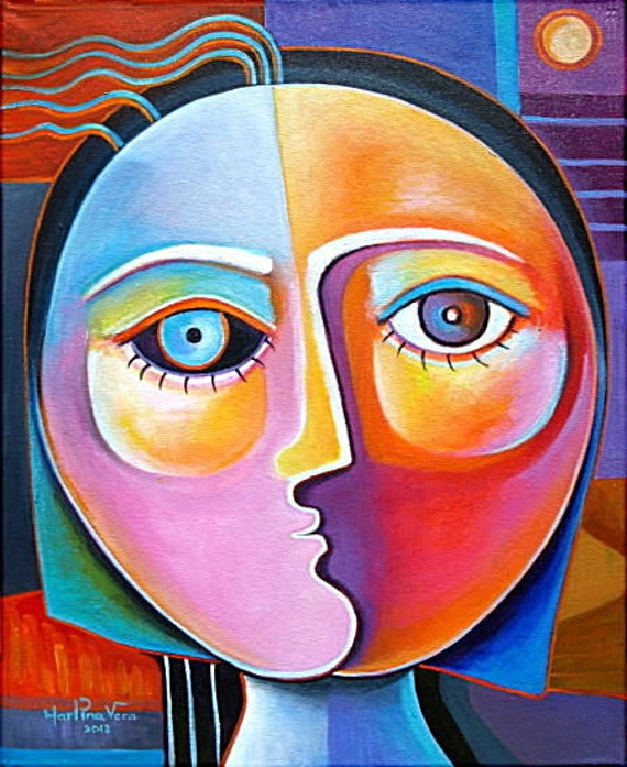 Il dipinto astratto acrilico originale cubista su tela vendita di opere d'arte di daniela Vera Fine Art Gallery viso donna