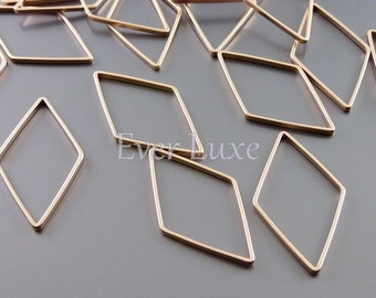 4 rhombus / diamond shaped 24mm charms for jewelry, rose gold jewelry supplies, findings 938-MRG-24 (matte rose gold, 24mm, 4 pieces)