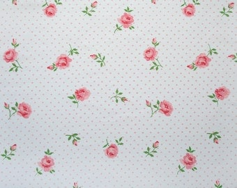 Pink polkadots & roses, a vintage sheet fat quarter