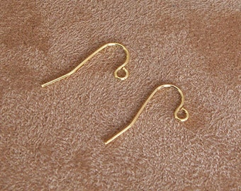 Short Gold Plated Stainless Steel Earwire Hooks - Qty 100
