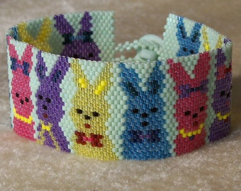 Bunnies on Parade Bracelet Pattern - Peyote Pattern - Easter