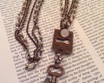 Upcycled Vintage Multi Stranded Skeleton Key with Escutcheon Assemblage Necklace,OOAK,Repurposed,Vintage Glam,Long Necklace