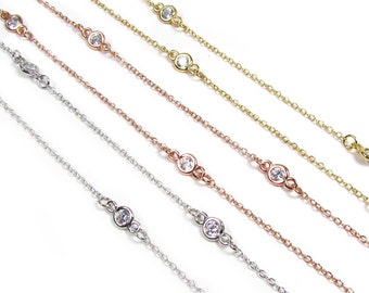 CZ by the yard necklace, As seen On Kelly Ripa, Simulated diamonds by the yard,  Bezel CZ station necklace.