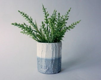 Metallic silver pot /  small silver Vase / white glass and concrete planter / Modern decor / handcrafted vase / Carriage Oak Cottage