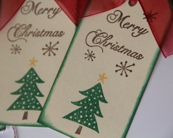 Merry Christmas Tags with Christmas Tree, Christmas Tags with ribbon, Christmas Tree Gift Tags, Christmas Hang Tags (CGT1401)