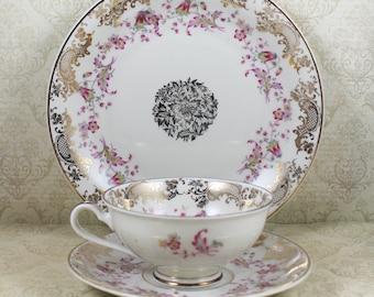 Vintage Pink and Gold Floral Bavaria Schlottenhof 1940s Bone China Tea Cup and Plate Set