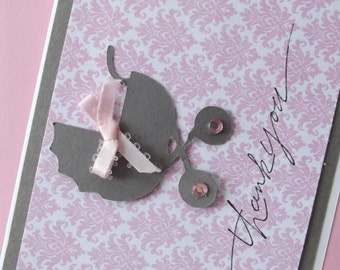 Baby Thank You Card Pink Gray Card Damask Thank You Card Baby Shower Carriage Die Cut Card with Envelopes