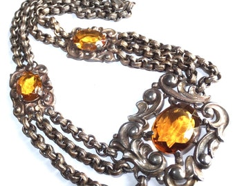 Stunning Victorian Renaissance Gold Citrine Amber Crystal Vintage Festoon Chain Vintage Antique Necklace