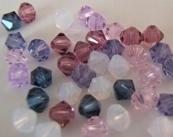 4mm Preciosa Czech Crystals - Frosty Lilac Mix
