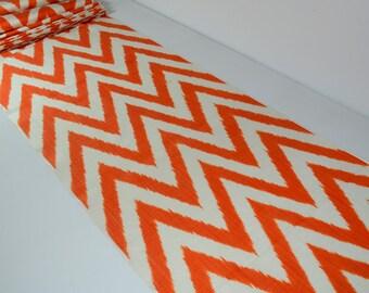 Chevron orange ikat fabric, chevron textile, hand woven ikat, ikat table runner,, upholstery ikat
