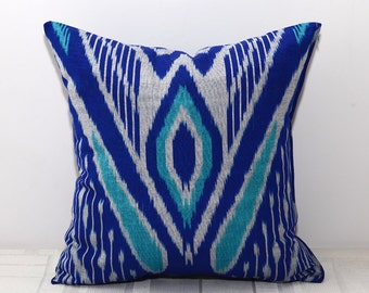 16x16, 15x15, ikat blue turquoise cushion cover, turquoise pillow cover, ikat pillows, blue ikat, sofa pillows, 15x15 pillows, uzbek ikat