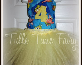 Personalized Spongebob Patrick birthday corset tutu dress any size 12 months 18 months 2t 3t 4t 5t 6 pageant parade