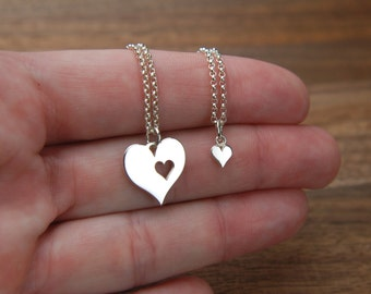 Mother and daughter sterling silver heart cutout necklace set, silver heart charm, mothers love, piece of my heart, mother daughter, love