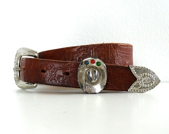 Vintage Tooled Leather Western Belt