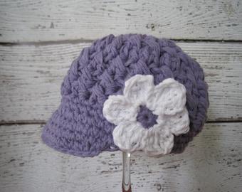 Purple Newsboy Hat Baby girls, Newborn,Baby visor Hat with Flower