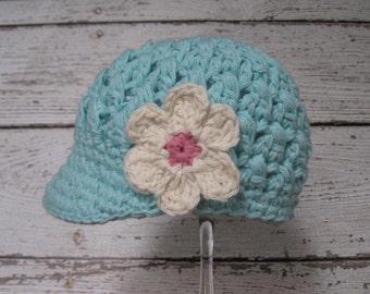 Newsboy Hat Robin's Egg Blue Newborn Baby Visor Hat with Flower