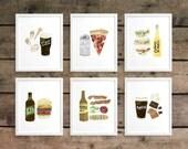 Beer/Food Pairings Prints Series 1 - Set of 6  (8 x 10)