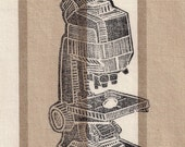Science Geekery Linocut- Classic Vintage Microscope- 8 x 10 inch