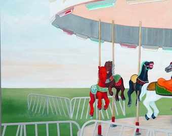 Carousel Painting- Fantasy Horse Childhood- Original Acrylic on Canvas- Framed- 28 x 40 inches