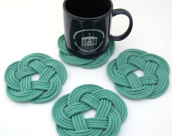 Rope Coasters Woven Green Cotton Nautical Turkhsead Knot 4 pack