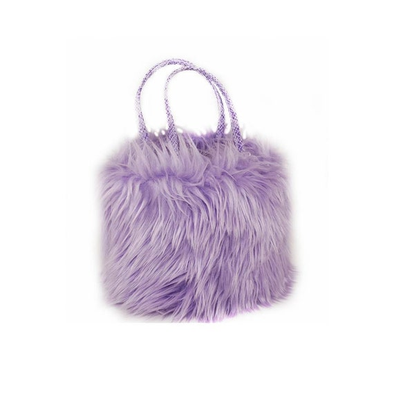 Small Purple Faux Fur Handbag and matching change purse Wristlet CarolJoyFashions, SBuck
