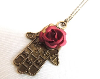 Hamsa Necklace with Maroon Rose, Vintage style, Birthday present, Red rose, Summer necklace, Ramadan Eid gift present, Thank you gift